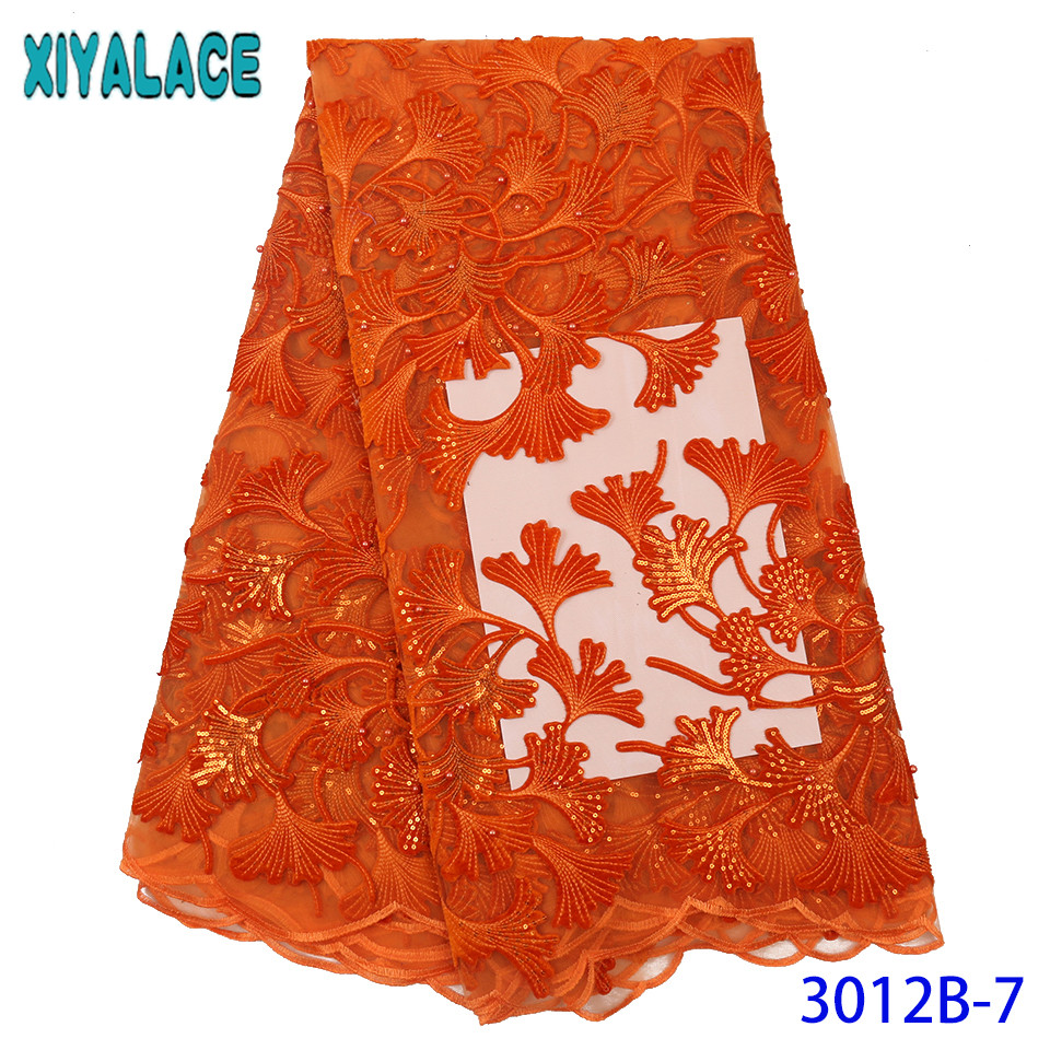 Latest Lace Fabric Nigerian Lace Fabric 2019 High Quality Lace Burnt Orange Velvet Sequins Fabric Laces With Beads KS3012B-7