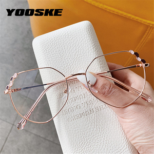 YOOSKE Transparent Optical Glasses Women Elegant Irregular Eyeglasses Frames Ladies Luxury Metal Spectacles Frame