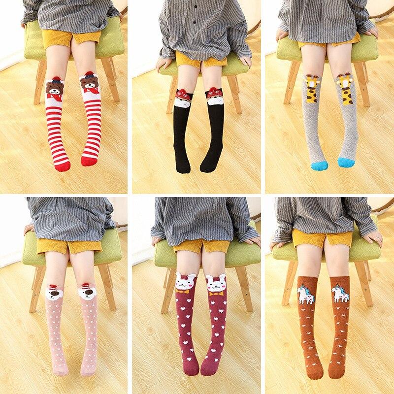 Girls Socks Cotton Knee High Socks Animals Cartoon Design Princess Socks Kids Dancing Socks 2-12Y Children Sock Girl's Clothing