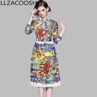 Fashion Retro Pleated Dress 2019 Autumn Women Turn down Collar Long Sleeve Shirt Dress peacock Print Casual Slim Dress Vestido