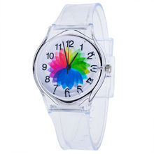 Bonitos relojes de moda para niños, precioso reloj de esfera con estampado de flores, reloj de silicona transparente para estudiantes, reloj para niñas, gran oferta