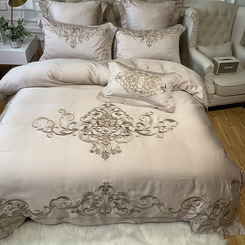 New Champagne Pink Luxury Royal Embroidery European Palace 100S Tencel Silk Bedding Set Duvet Cover Bed sheet/Linen Pillowcases|Bedding Sets| |  - title=