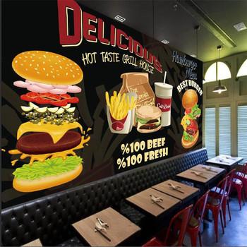 Niestandardowe hamburgery hamburgery tapeta zachodnia restauracja Fast Food czarny Mural w tle tapety przekąska Bar Papel De Parede 3d tanie i dobre opinie ANNAGOODS NONE CN (pochodzenie) Yuan rolka Inne PRINTED Nowoczesne Tapety materiałowe Włókniny SALON Other przyjazne dla środowiska