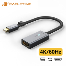 CABLETIME Mini DisplayPort to HDMI Adapter 4K/60Hz Thunderbolt 2 Mini DP Cable HDMI Converter for Surface Pro 6 Lenovo Dell C315 адаптер lenovo mini displayport to hdmi