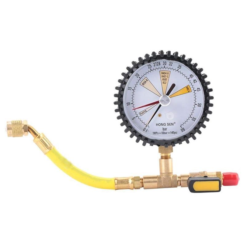 Manómetro, prueba de presión de nitrógeno de enfriamiento de aire acondicionado, válvula de bola adecuada para R134A, R22, R407C, R410A