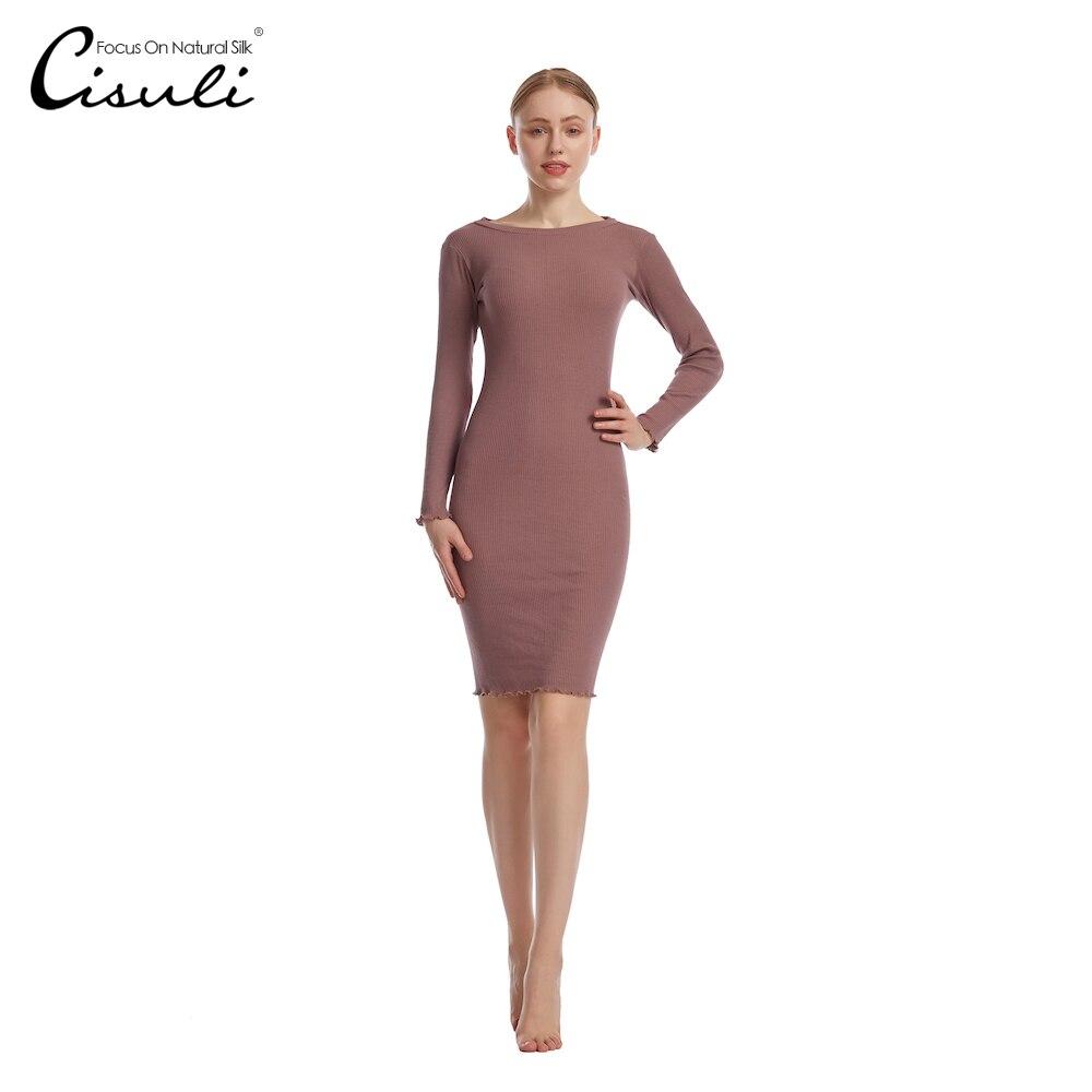 Knitted Silk Cotton Women Long Dresses Organic Fabrics Soft High Elasticity Silk Sweater Dress For Spring And Autumn