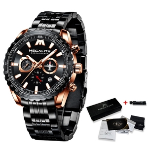 Image 5 - Relogio Masculino MEGALITH Sport Watch Men Aircraft Pointer Calendar Male Clock Full Steel Waterproof Quartz Watch With Box Pack