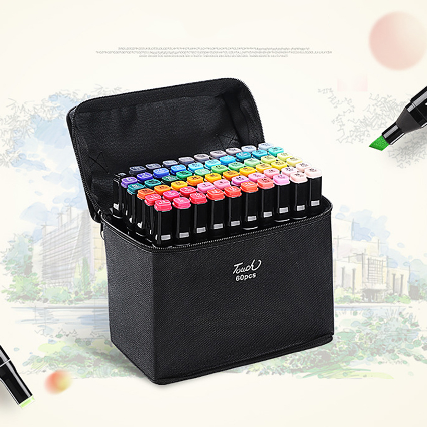 30/40/60 Colors Graphic Marker Pen Set Professional Sketch Art Markers Double Headed Color Art Pens Paiting Pen With 4/5 Gifts