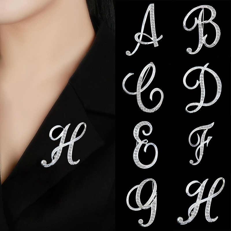 Itenice Rhinestone kristal broş ilk mektup broş A-S yaka iğneler ve broşlar spille donne takı kadın erkek düğün