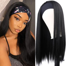 Black Straight Wig Headband Woman 16/18/22/24inch Wigs for Women Long Synthetic Wig Headband Natural Wigs Headband for Daily Use