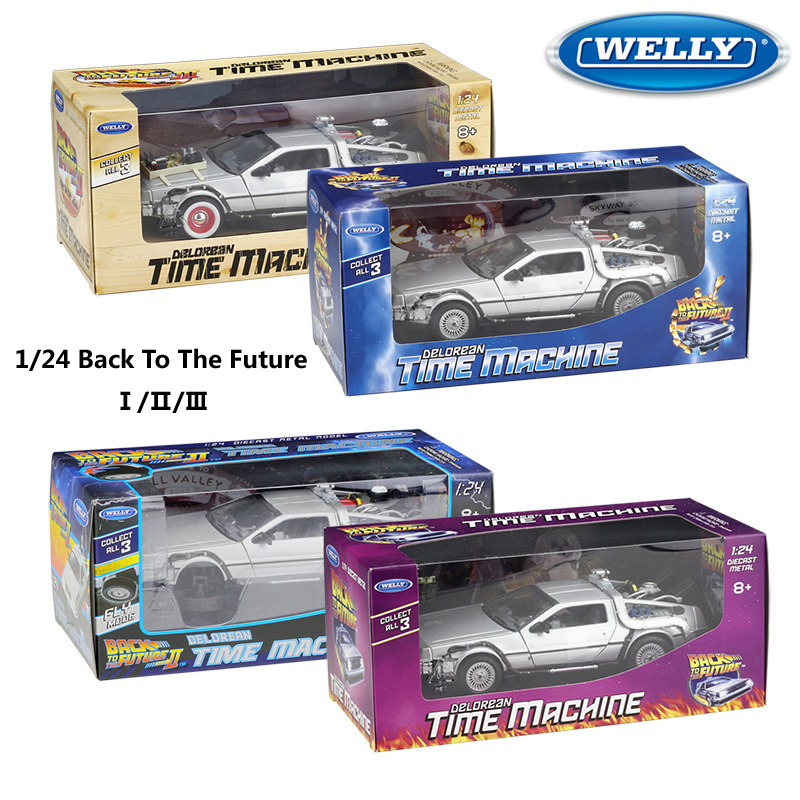 WELLY Diecast 1:24 Scale Model Car Toy Delorean For Movie Back To The Future Part 1/2/3 DMC-12 Metal Alloy Toy Car For Kids Gift