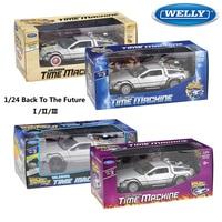 WELLY-modelo de coche a escala 1:24 para niños, Delorean para película de Regreso al futuro, parte de 1/2/3 DMC-12, coche de juguete de aleación de Metal