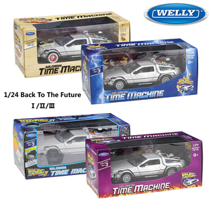 WELLY Diecast 1:24 Scale Model Car Toy Delorean For Movie Back to The Future Part 1/2/3 DMC-12 Metal Alloy Toy Car For Kids Gift(China)