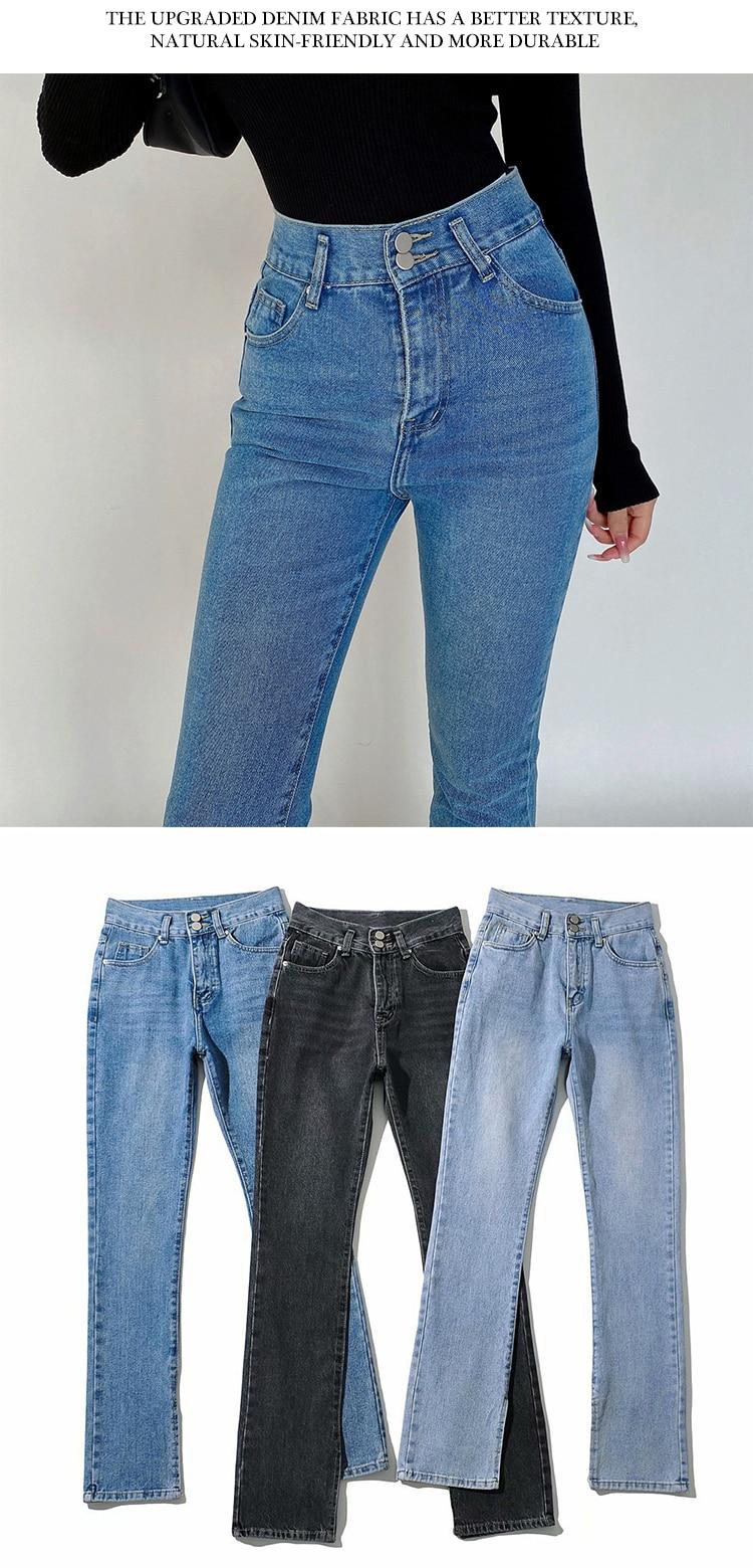 Women's Jeans High Waist Denim Pants Trousers For Female Fashion Elasticity Flared Jeans Split Boot Cut Wide Leg Pant 2021