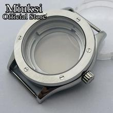 Miukis 42mm silver stainless steel watch case sapphire glass case fit NH35 NH36 movement