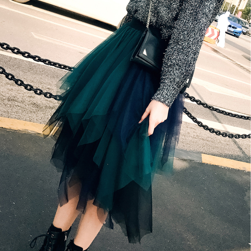 3 Layers Irregular High Street Tulle Skirts Womens High Waist Patchwork Color TuTu Skirt Korean Spring Summer Falda Tul Mujer