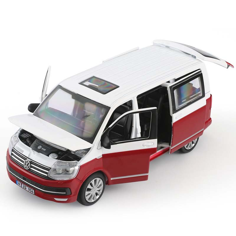 1/32 Classic T6 Van Business Car Alloy Model Simulation Die-casting Sound And Light Pull Back Model Toys Kids Gift Collection