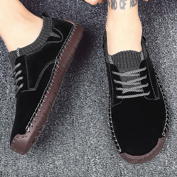 Men Shoes 2020 New Fashion Leather Loafers Breathable Autumn Lace Up Comfortable Casual Shoes Black Outdoor Men Size 38-48