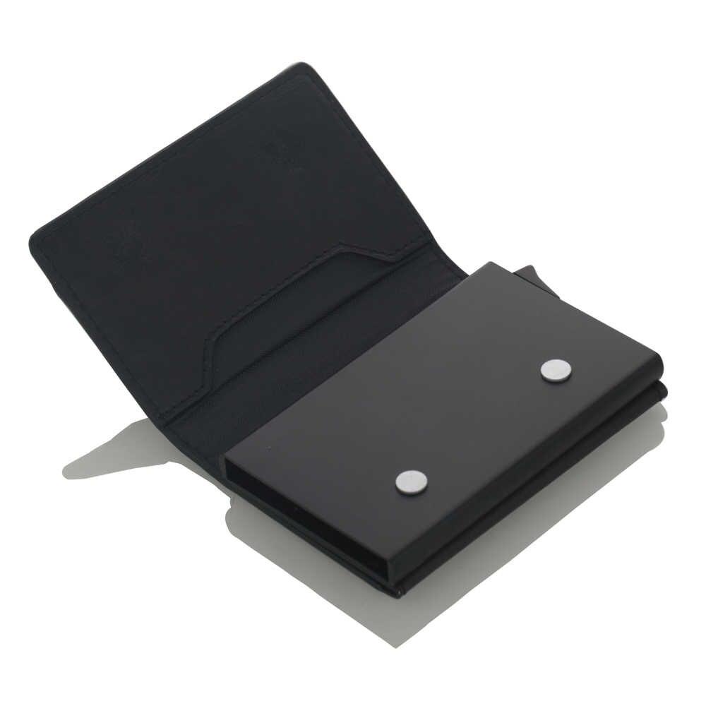 Nuevo soporte antirobo para tarjetas de crédito para hombres, cartera Rfid, Cartera de cuero Unisex, tarjetero de aluminio y Metal