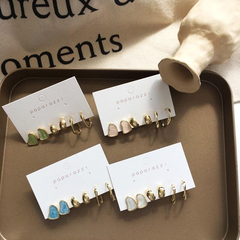 Delicate Jewelry 3 Sets Earrings Green Blue Pink Enamel Small Hoop Earrings Golden Jewelry For Women Student Gifts