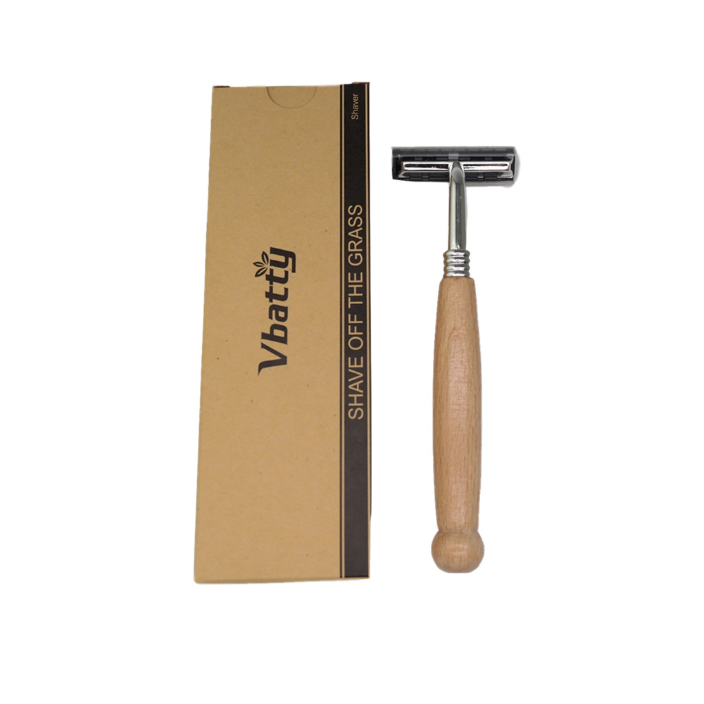 1pcs Vbatty Wood  Razor Non-disposable Stainless Steel Razor Replaceable Razor Head Retro Beard Knife Men Shaving