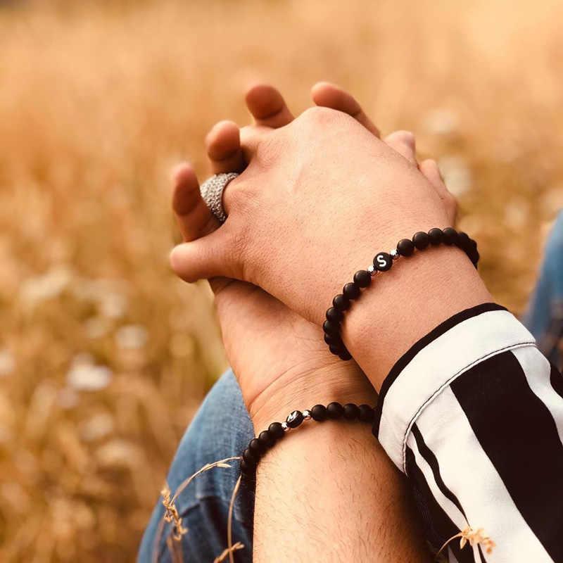 Letra pareja pulsera para mujeres verano hombres joyería 6mm Piedra Natural cuentas accesorios amigos regalo venta al por mayor Dropshipping