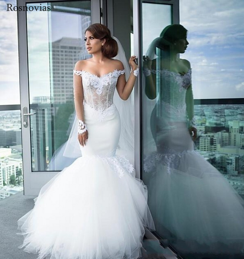 Luxury Mermaid Wedding Dresses 2019 Off Shoulder Long Sleeves Backless Long Train Lace Appliques Modest Bridal Gowns Custom