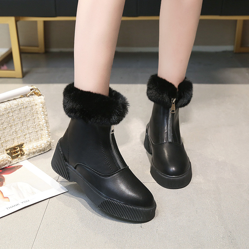 Women Short Ankle Boots Winter Plush Warm Thick Bottom Platform Round Toe Students Leisure Flat Ankle Snow Boots Botas Mujer 35