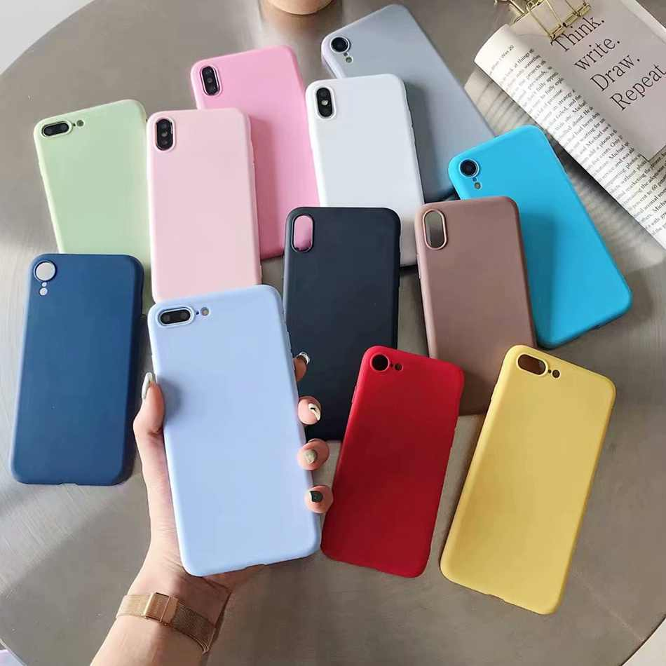 Voor Iphone Xr 11 Pro 8 X Xs Max 7 Plus Matte Candy Gel Case Ultra Slim Soft Silicone Cover voor Iphone 7 Plus 6 6S