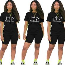 2021 Summer Letter t Shirts Top and Shorts Tracksuit Outfit Fashion Casual Woman 2 Piece Set Sportwear Biker Shorts Suit