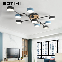 BOTIMI Dropshipping Multiple Rod Wrought Iron LED Ceiling Lights For Foyer Nordic Black and Blue Metal Bedroom Ceiling Lamps