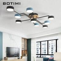 Botimi dropshipping várias haste de ferro forjado led luzes de teto para foyer nordic preto e azul metal quarto lâmpadas teto