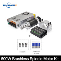 500W/0.5KW ER11 Brushless DC Spindle Motor+55MM Clamp with Screws+20 50VDC Stepper Motor Driver+48VDC 12A Power Supply For CNC
