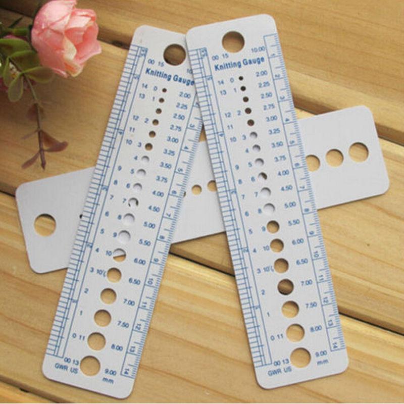 High Quality 2-10mm 1pcs Knitting Needle Gauge Inch Cm Ruler Tool US UK Canada Sizes