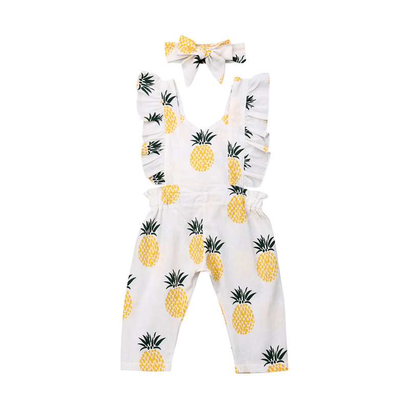 Summer Newborn Infant Clothing Romper Ruffles Body Baby Girl Bow Cotton Jumpsuits Overall Headband 2PCS Pineapple Outfits 0-24Y
