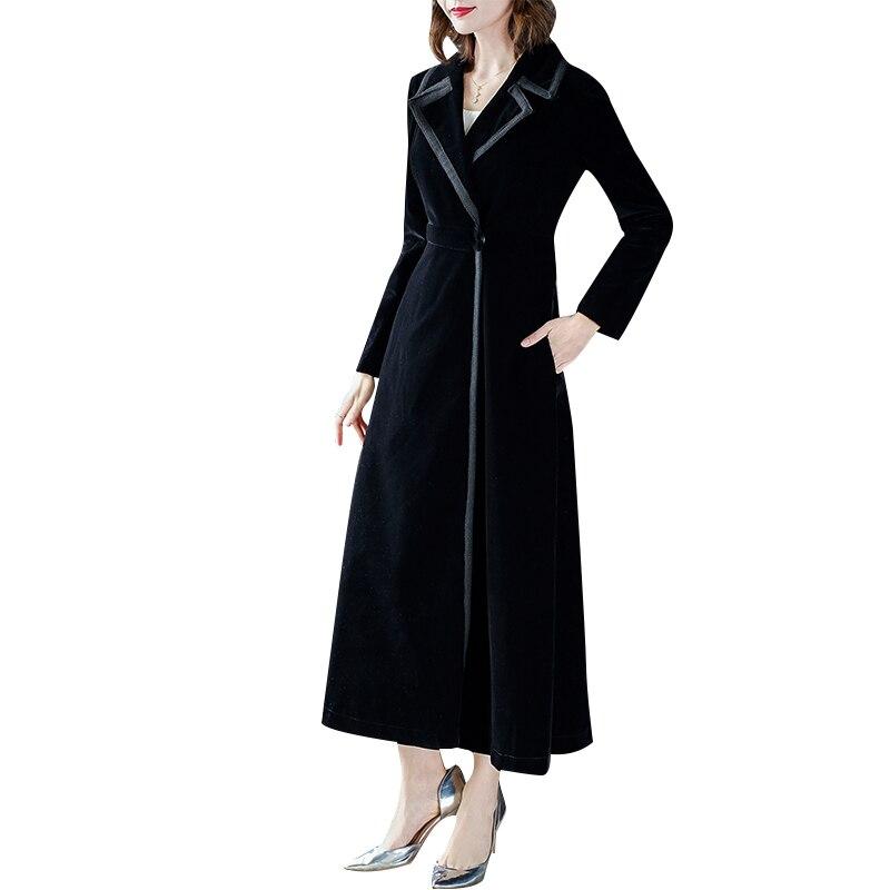 Fashion Long Trench female 2019 New Womens Temperament Autumn Black Velvet Elegant Sleeve Overcoats Coats