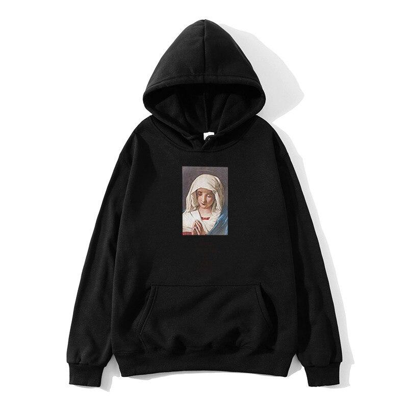 Nieuwe Hot Koop Virgin Mary Print Mannen Hoodie Grappige Streetwear Mannen/vrouwen Herfst Winter Casual Hoodies Sweatshirts Trui