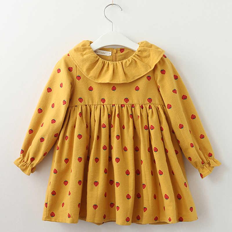 Милые фрукты печати 2019 новое платье принцессы детская одежда с длинными рукавами Повседневные платья для маленьких девочек осень клубника