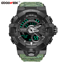 Get more info on the GOODWEEK Man Sport Watch Waterproof Army Camouflage Shock Resitant Watch Multi-functional Dual Display Watches Relogio Masculino