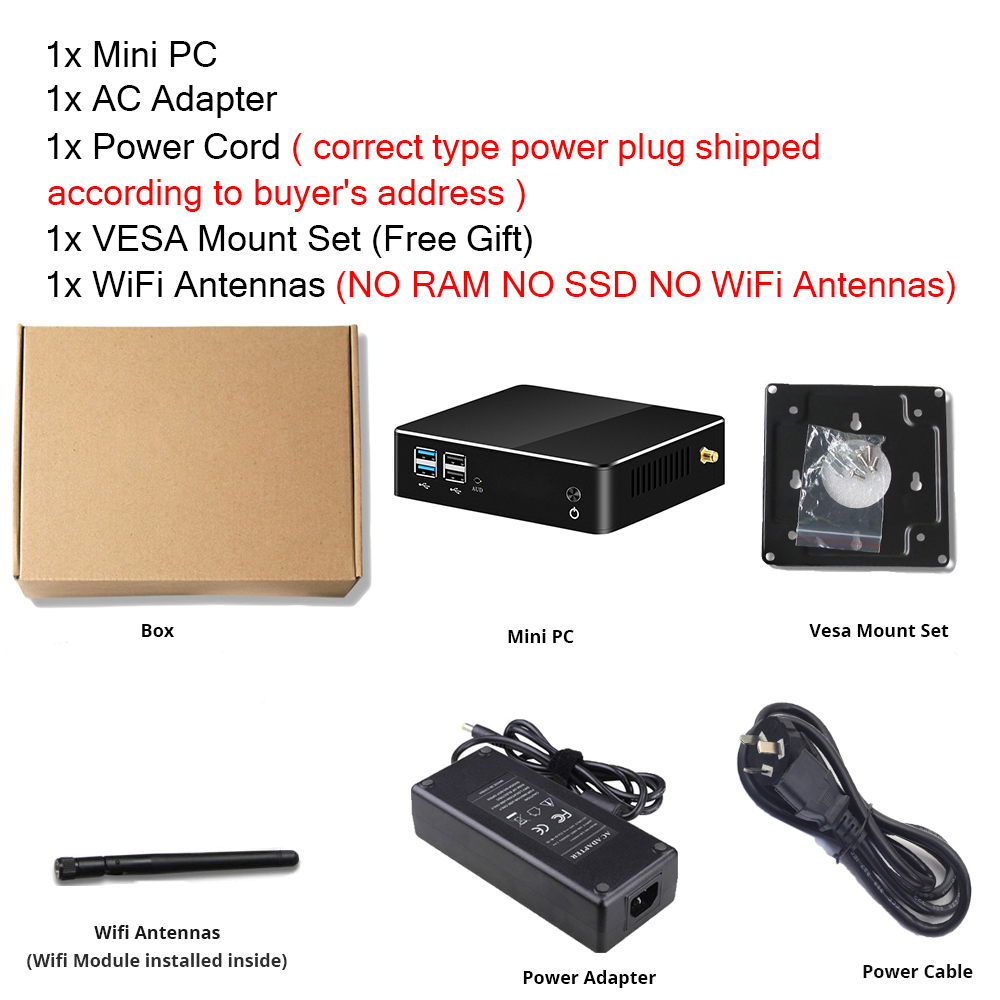 XCY Mini PC 8th Intel Core i7 8565U i5 Processor DDR4 RAM DP HDMI M.2 SSD Win 10 Linux 4K UHD HTPC Desktop Nettop Computer Nuc-5