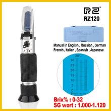RZ рефрактометр пиво БРИКС сусток сахар Спирт 0~ 30% 1,000~ 1,120 SG удельный вес ручной инструмент гидрометр RZ120 инструмент