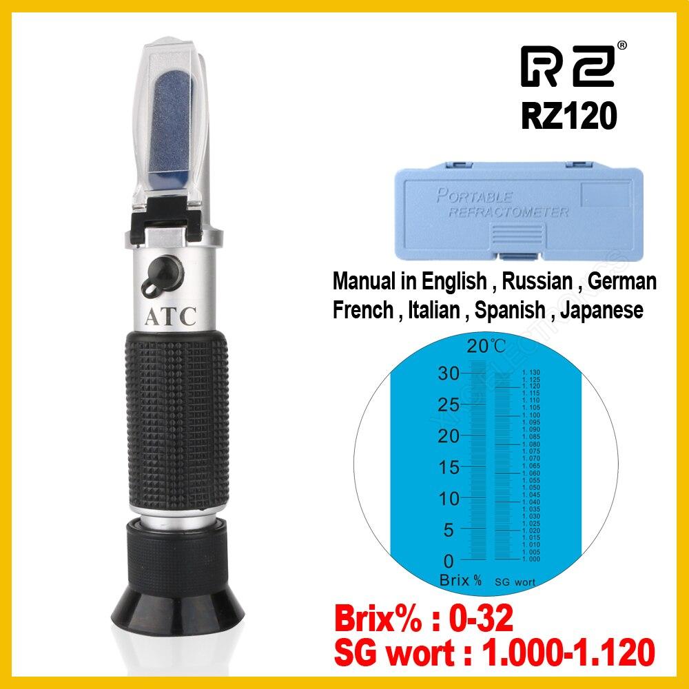 RZ Açúcar Brix Wort Refratômetro Cerveja Álcool 0 ~ 30% 1.000 ~ 1.120 SG RZ120 Ferramenta Portátil Hidrômetro Gravidade Específica ferramenta