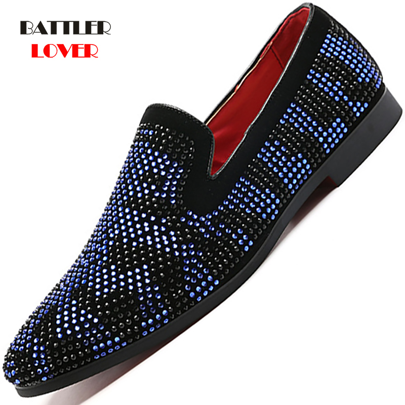 2019 New Men Loafers Red Blue Diamond Rhinestones Spiked Loafers Men's Rivets Shoes Red Bottom Wedding Party Shoes Driving Shoe