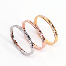 Trendy Roman Numerals Bracelet for Women Personality Cubic Zirconia Rose Gold Bangle Stainless Steel Female Jewelry недорого