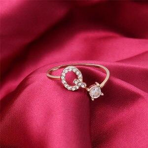 INS HOT 26 кольцо с цирконием, регулируемое персонализированное кольцо с алфавитом, буквой, прозрачным кристаллом, кольцо на палец, ювелирное изделие, подарок