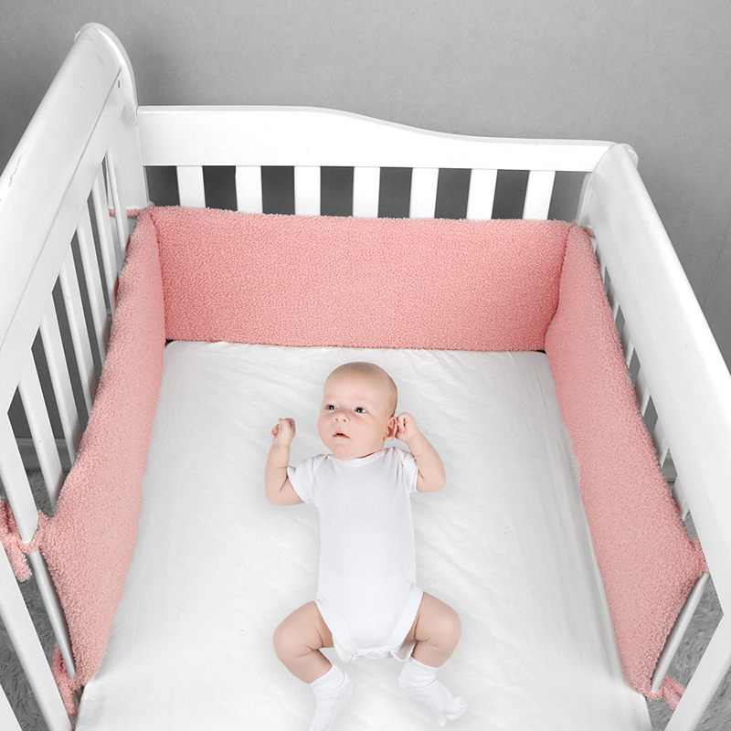 Baby Crib Bumper For Newborns Room Decoration Crib Protector Detachable Safe Fence Line One-piece Loop Hair Material Crib