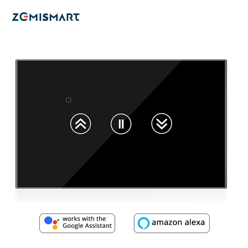 Tuya Smart Curtain Switch Roller Shade Motor Wall Switches Smart Life Limit Setting Alexa Google Home Touch Black White Panel