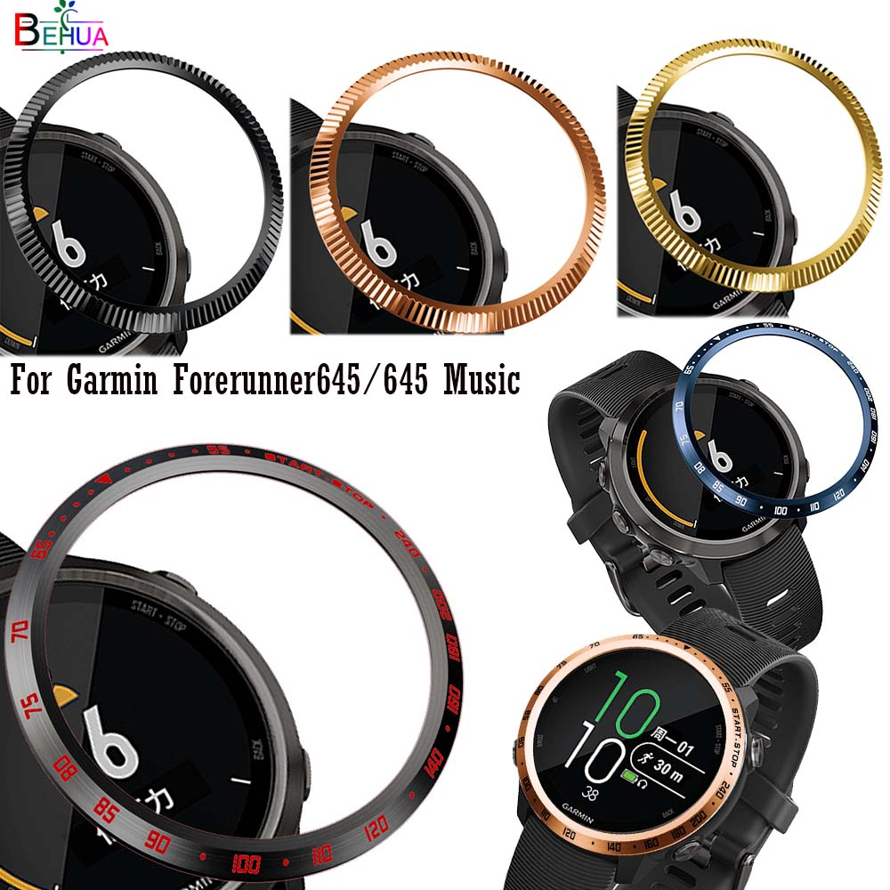 Fashion Steel Smartwatch Case For Garmin Forerunner 645 / 645 Music Dial Bezel Ring Adhesive Protection Cover Anti Scratch New