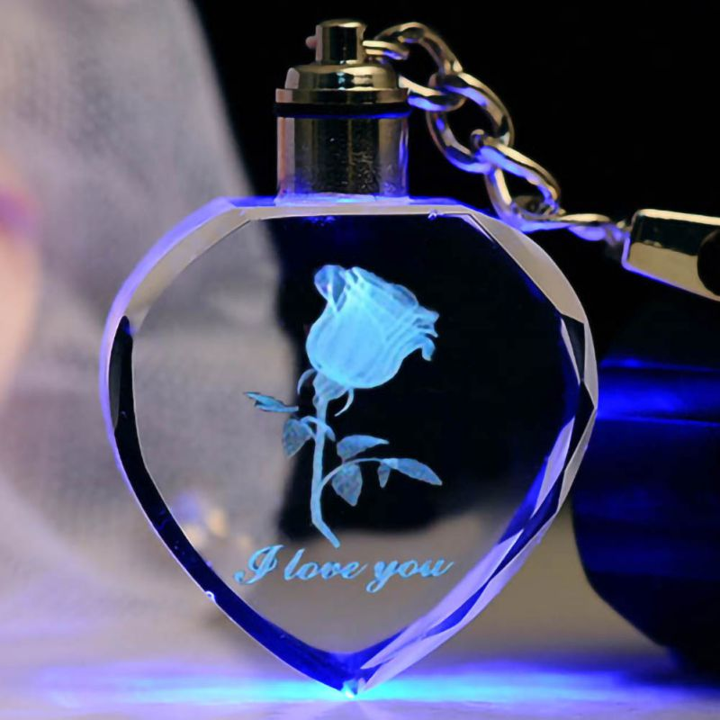 Fashion Colorful Fairy Rose Flower Pattern Love Shape Crystal Rhinestone LED Light Keychain Lover Key Chain Keyring Jewelry New