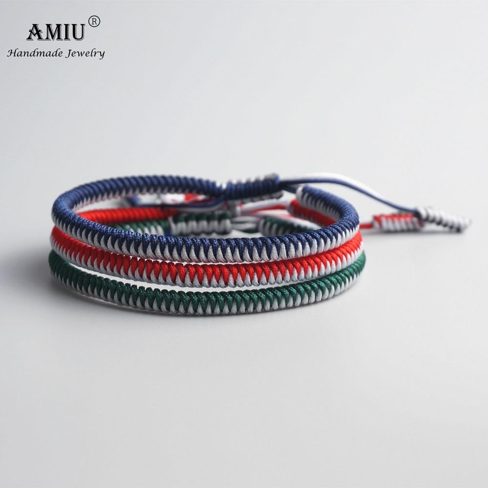 AMIU 3PCS Color Tibetan Buddhist Good Lucky Charm Tibet Bracelets & Bangles For Women And Men Handmade Knots Rope Bracelet